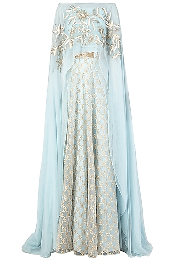 Blue Embroidered Off Shoulder Blouse with Lehenga Skirt by Ritika Mirchandani