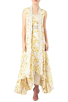 Yellow Embroidered Kurta with Overlay Cape Set by Ritika Mirchandani