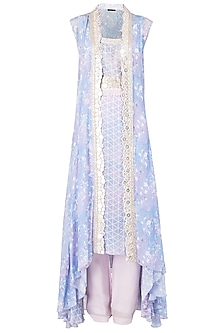 Lavender Asymmetrical Embroidered Tunic with Overlay Cape Set by Ritika Mirchandani