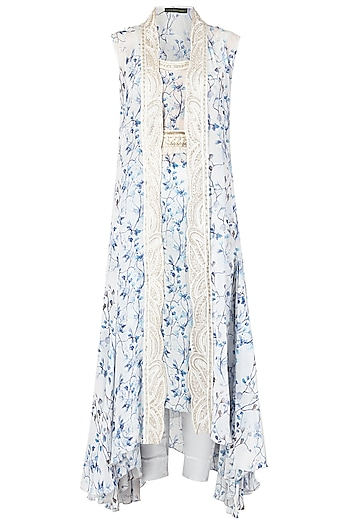 Blue and White Asymmetrical Embroidered Tunic with Overlay Cape Set by Ritika Mirchandani
