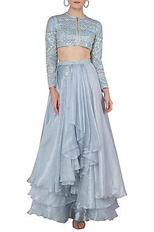 Powder Blue Crop Jacket with Pleated Lehenga Skirt by Ritika Mirchandani
