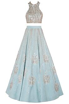 Blue Embellished Lehenga Set by Riddhi Majithia