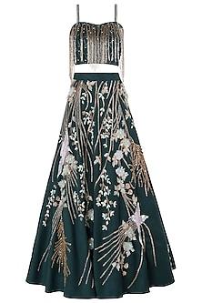 Bottle Green Embellished Lehenga Set by Riddhi Majithia