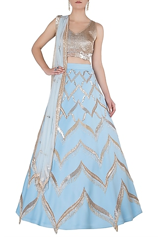 Blue and Gold Embellished Lehenga Set by Riddhi Majithia