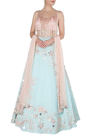 Blue and Rose Gold Pearl Embellished Lehenga Set by Riddhi Majithia