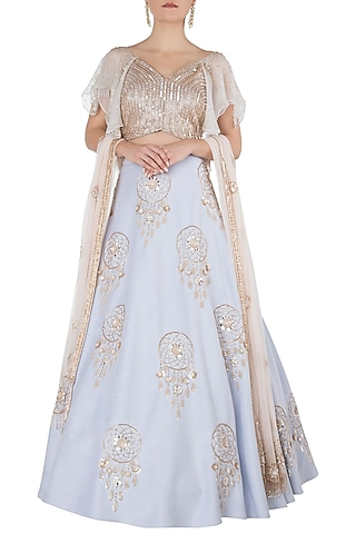 Blue Dreamcatcher Lehenga Set by Riddhi Majithia