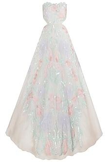 Ivory Embellised Tube Gown by Riddhi Majithia