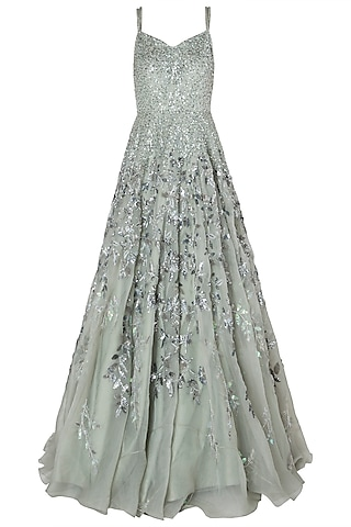 Sage Green Embroidred Gown by Riddhi Majithia