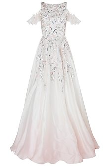 Pink and Ivory Ombre Embroidered Gown by Riddhi Majithia