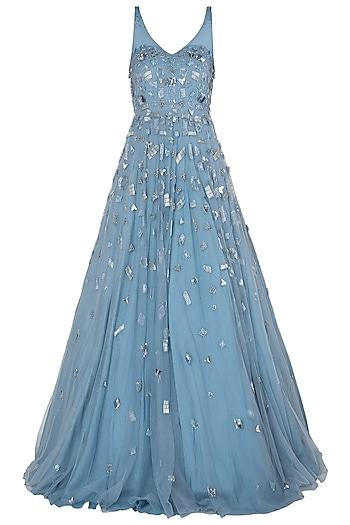 Blue Geometric Embroidered Gown by Riddhi Majithia