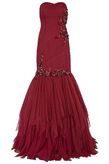 Red Tube Embellished Gown by Riddhi Majithia