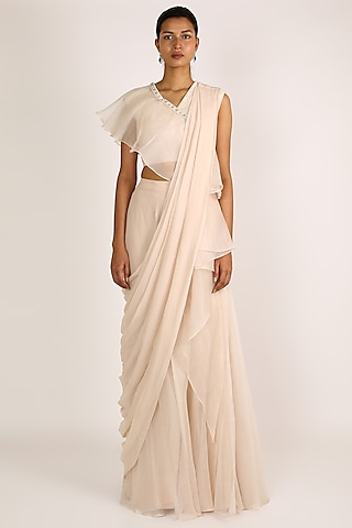 Ivory Pearls Saree Set With Belt by Ridhi Mehra