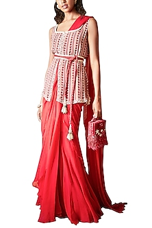 Scarlet Red Saree Set With Printed Jacket & Embellished Belt by Ridhi Mehra