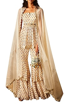 Ivory Buta Printed Sharara Set With Attached Belt by Ridhi Mehra