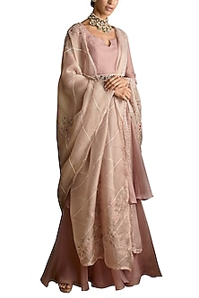 Mauve Flared Gharara Set With Belt by Ridhi Mehra