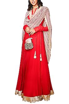 Crimson Red Anarkali Set With Belt by Ridhi Mehra