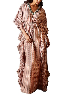 Peach Printed Kaftan by Ridhi Mehra