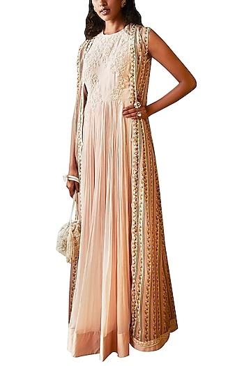 Peach Anarkali With Printed Embroidered Cape by Ridhi Mehra