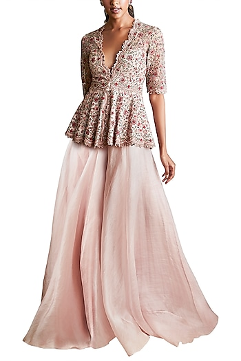 Pale Pink Embroidered Peplum Top With Sharara Pants  by Ridhi Mehra