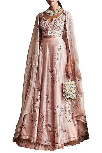 Pale Pink Embroidered Lehenga Set by Ridhi Mehra