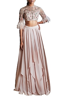 Pale Pink Draped Lehenga Skirt With Embroidered Blouse by Ridhi Mehra