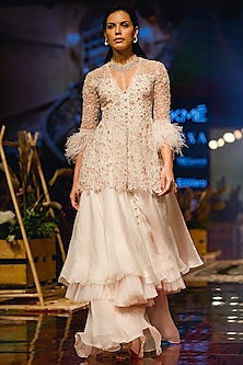Ivory Embroidered Anarkali With Gharara by Ridhi Mehra