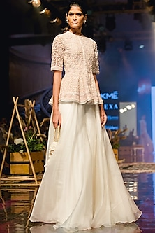 Ivory Sharara Pants With Champagne Embroidered Peplum Top by Ridhi Mehra