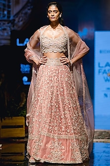 Peach Trail Lehenga Set by Ridhi Mehra