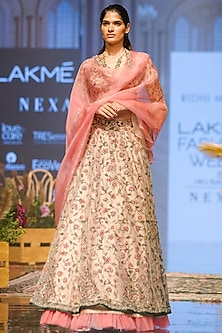 Beige & Peach Lehenga Set by Ridhi Mehra