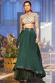 Emerald Green Embroidered Blouse With Lehenga Skirt by Ridhi Mehra