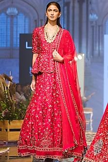 Deep Fuchsia Embroidered Lehenga Skirt With Peplum Jacket by Ridhi Mehra