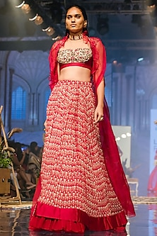 Pink Embroidered Printed Lehenga Set by Ridhi Mehra
