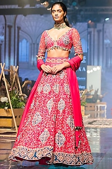 Deep Fuschia Embroidered Raw Silk Lehenga Set by Ridhi Mehra