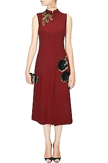 Red Sequins Embellished Rose Motifs Dress by Ridhi mehra