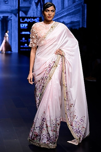 Light Pink Saree with Embroidered Cape Blouse by Ridhi Mehra