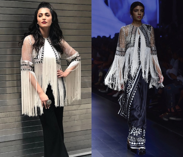 Black Floral Print Saree with Ivory Fringe Jacket by Ridhi Mehra