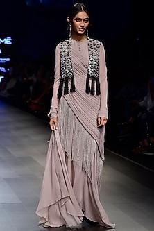 Grey Fringe Kurta with Contrast Lotus Motif Jacket by Ridhi Mehra