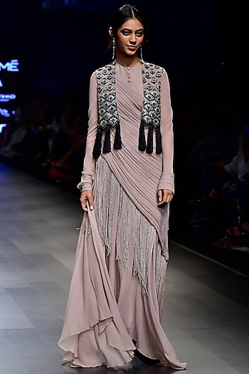 Grey Fringe Kurta with Contrast Lotus Motif Jacket by Ridhi Mehra
