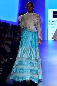 Ivory Ruffled Shirt with Aqua Skirt by Ridhi Mehra
