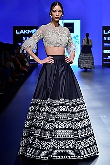Ivory Embroidered Blouse with Black Lehenga by Ridhi Mehra