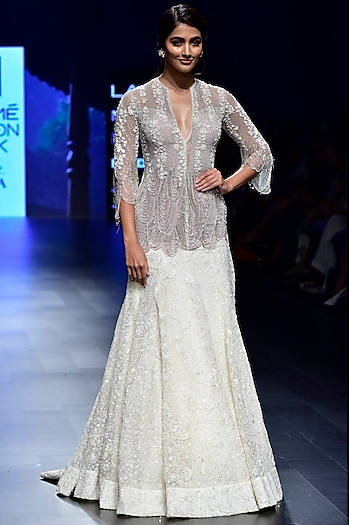 Ivory Cutdana Embroidered Cocktail Gown by Ridhi Mehra