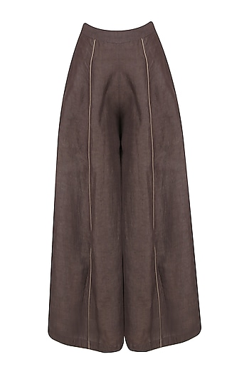 Grey Linen Wide Trousers by Raiman