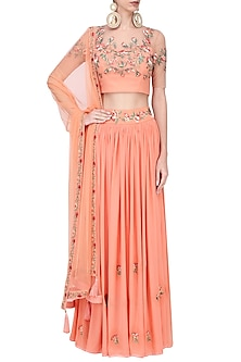Peach Thead Embroidered Lehenga Set by Ruhmahsa