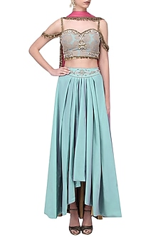 Turquoise Blue Embroidered Lehenga Set by Ruhmahsa