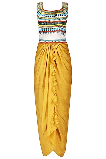 Mustard Beaded Crop Top and Drape Skirt Set by Ruhmahsa