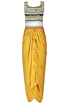 Mustard Beaded Crop Top and Drape Skirt Set by Ruhmahsa