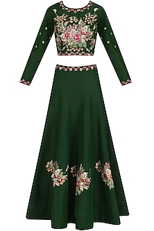 Green Floral Embroidered Lehenga and Blouse Set by Ruhmahsa