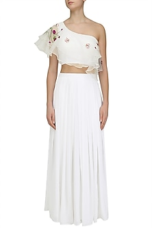 White Floral Embroidered One Shoulder Crop Top and Skirt Set by Ruhmahsa