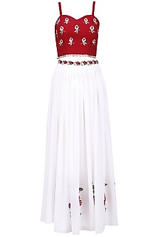 White and maroon embroidered lehenga set by Ruhmahsa
