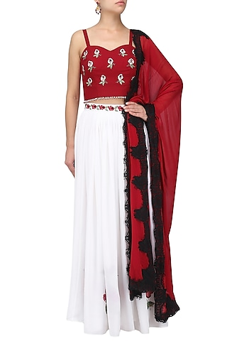 White and maroon embroidered lehenga set by Ruhmahsa